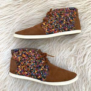 Soludos chukka High top sneaker shoe paint cognac